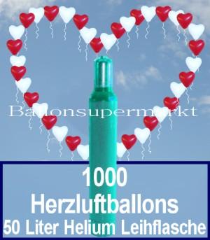1000 Herzluftballons zur Hochzeit für Blumenkinder