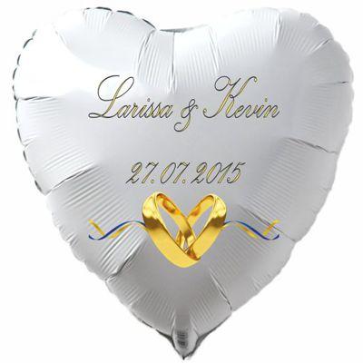Herzluftballon aus Folie in Weiß mit den Namen des Brautpaares und dem Datum des Hochzeitstages, mit Trauringen in Gold