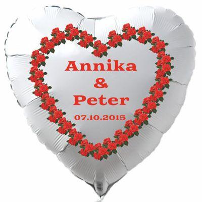 Herzluftballon aus Folie in Weiß, Namen des Hochzeitspaares und Datum des Hochzeitstages, rotes Rosenherz