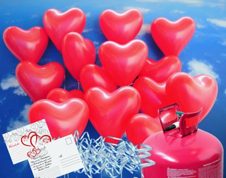 Luftballons zur Hochzeit steigen lassen rote Herzluftballons mit Einweg-Helium-Ballongas und Ballonflugkarten