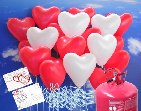 Luftballons zur Hochzeit steigen lassen, rote und weiße Herzluftballons mit Helium-Ballongas Einweg, Ballonflugkarten und Ballonbändern