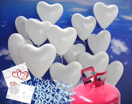 Luftballons zur Hochzeit steigen lassen, weiße Herzluftballons mit Helium-Ballongas-Einweg, Ballonflugkarten und Bändern mit Fixverschlüssen