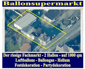 Ballonsupermarkt, der riesige Fachhandel für Luftballons, Ballongas, Helium, Partydekoration. 2 Hallen auf über 1000m²